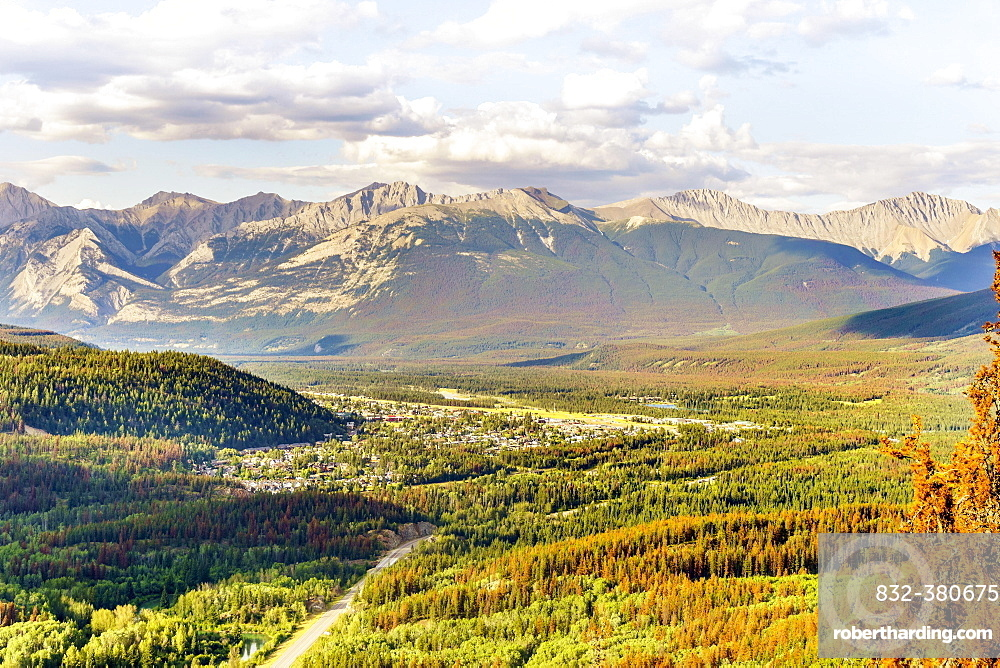 View of Jasper with mountains in autumn, Jasper National Park, Alberta, Canada, North America