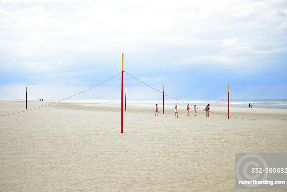 Children play on the beach, Langeoog, East Frisian Islands, Germany, Europe