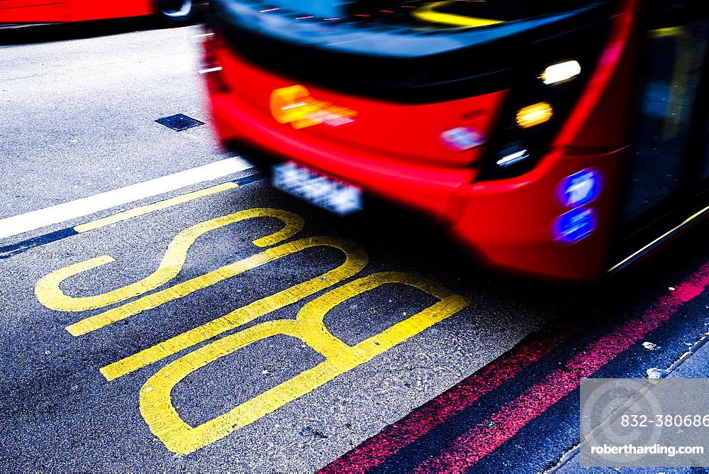 Bus rides in bus lane, London, Great Britain