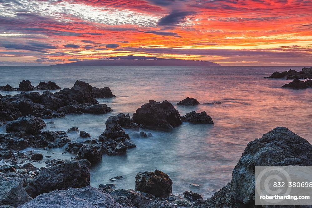 View of La Gomera, sunset, Playa de San Juan, Tenerife, Spain, Europe