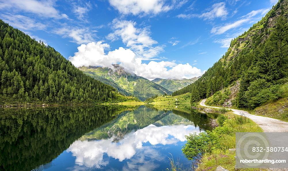 Reflection in the lake, Riesachsee, Rohrmoos-Untertal, Schladminger Tauern, Schladming, Styria, Austria, Europe