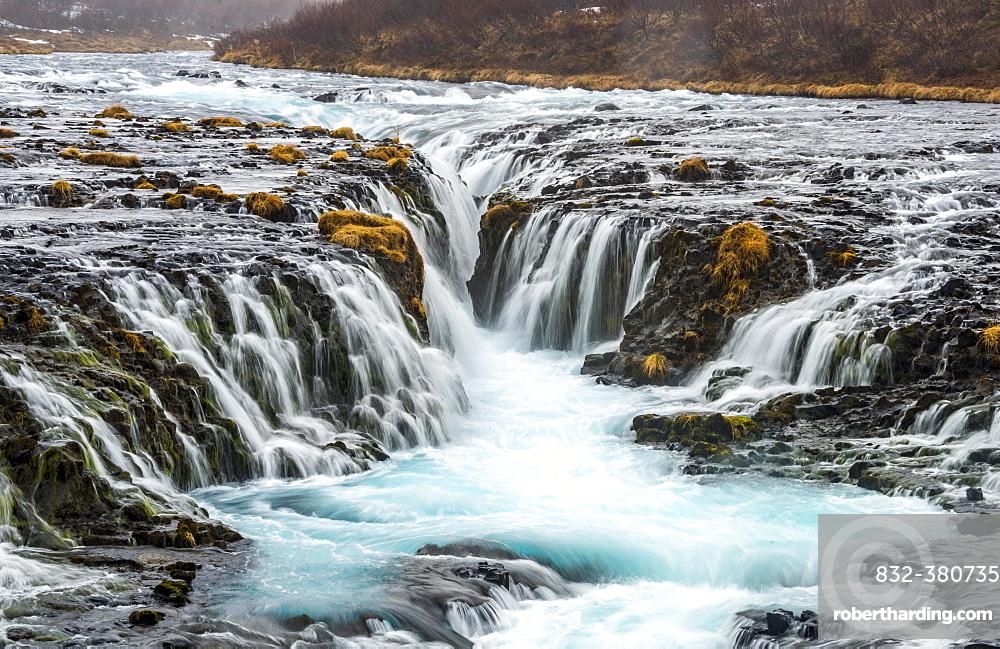Waterfall Bruarfoss in winter, in Selfoss, Southern Region, Iceland, Europe