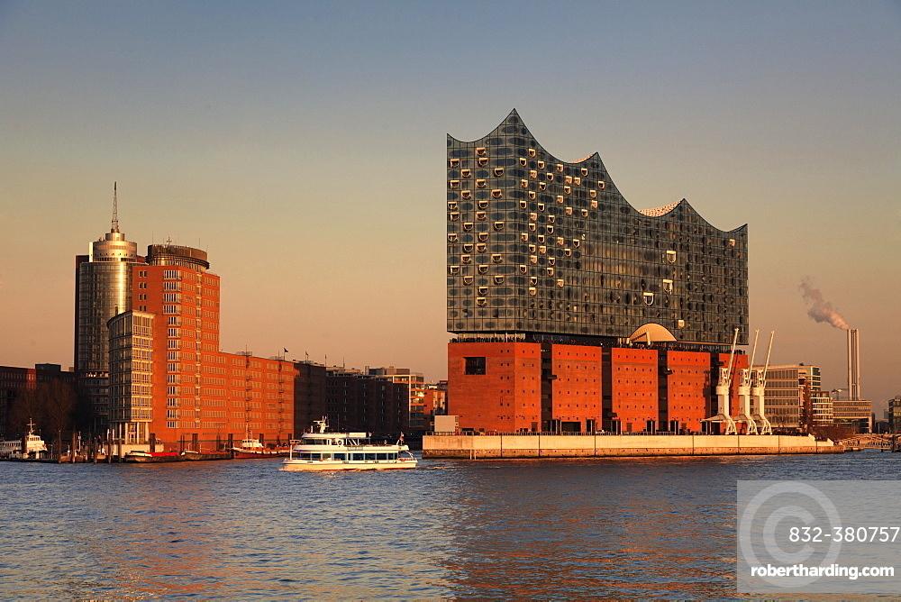 Elbphilharmonie at sunset, HafenCity, Hamburg, Germany, Europe