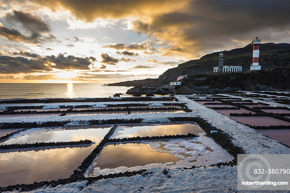 Salinas of Fuencaliente with lighthouse Faro de Fuencaliente at sunset, Fuencaliente, La Palma, Canary Islands, Spain, Europe