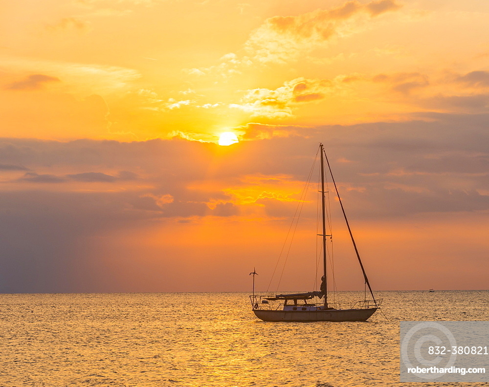 Sunrise, sailboat in the sea, Lovina Beach, Bali, Indonesia, Asia