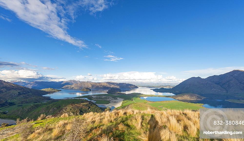 View on Lake Wanaka and mountains, Rocky Peak, Glendhu Bay, Otago, Southland, New Zealand, Oceania