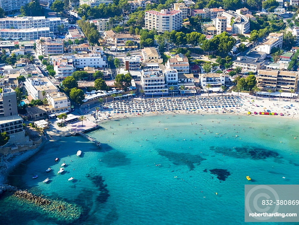 Aerial photograph, view of bay and beach of Peguera, Mallorca, Balearic Islands, Spain, Europe