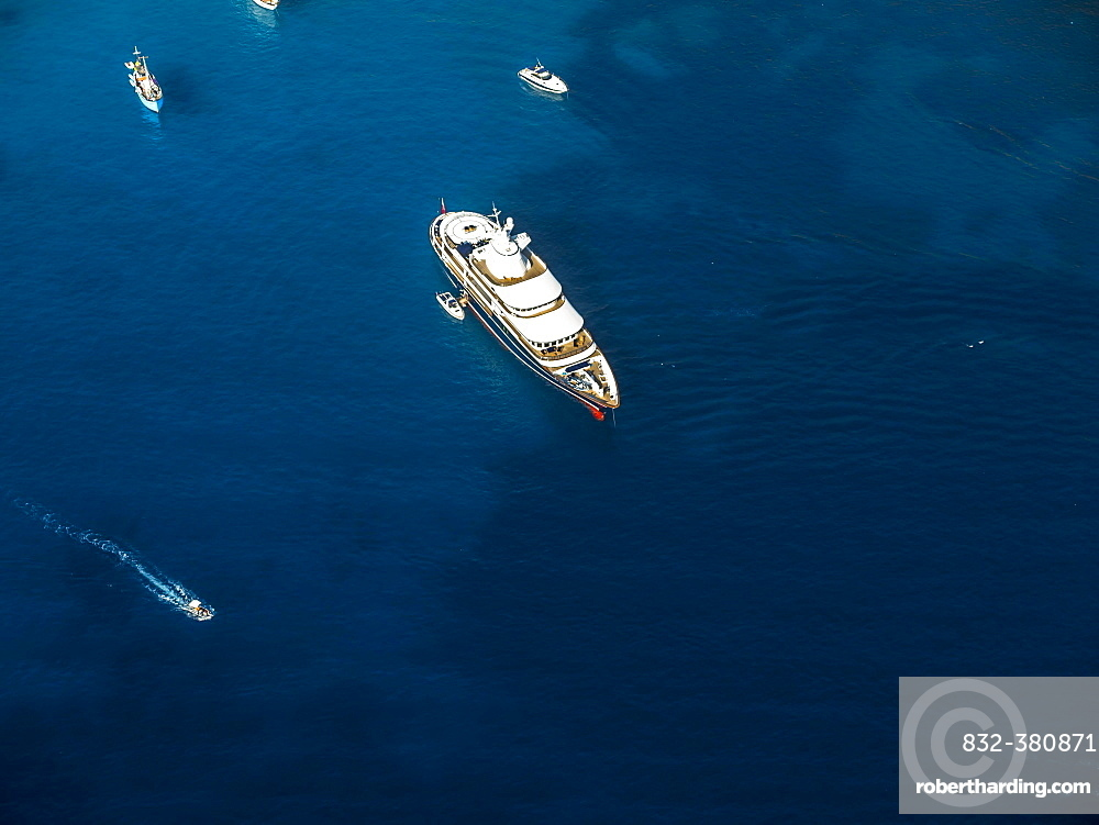 Aerial photograph, luxury yacht in blue ocean, close to Port d'Andratx, Mallorca, Balearic Islands, Spain, Europe
