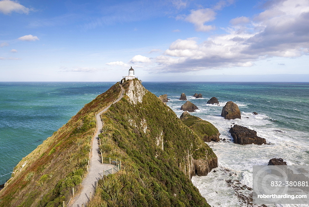 Lighthouse at Nugget Point, Catlins, Otago, Southland, New Zealand, Oceania