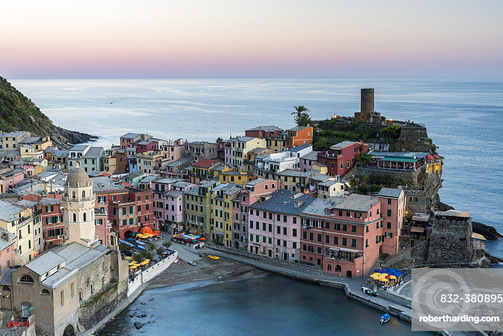 Townscape, colorful houses at dusk, Vernazza, Cinque Terre National Park, Liguria, Italy, Europe