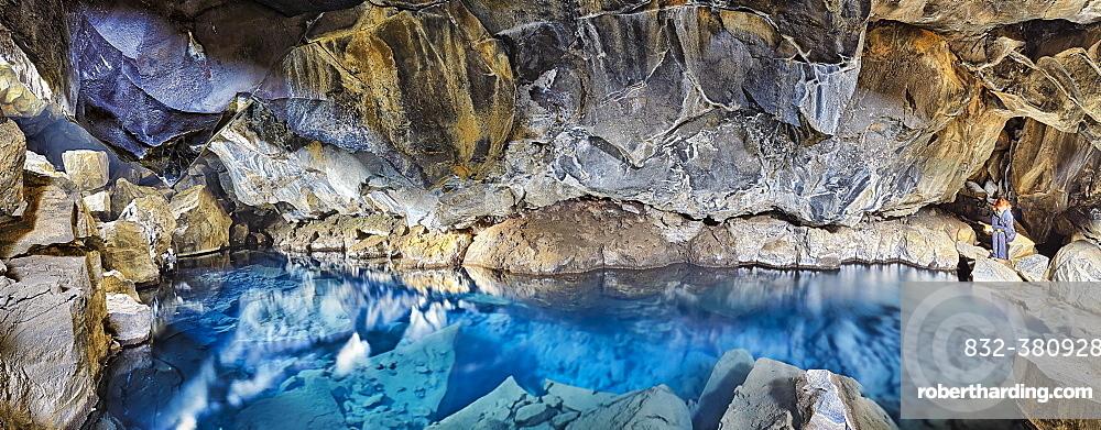 Natural pool Grjótagjá, crevices, hot fountain, Reykjahlíð, Mývatni, Iceland, Europe
