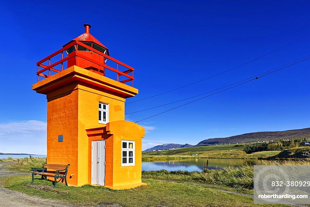 Lighthouse, Svalbarðseyri, Akureyri, Iceland, Europe