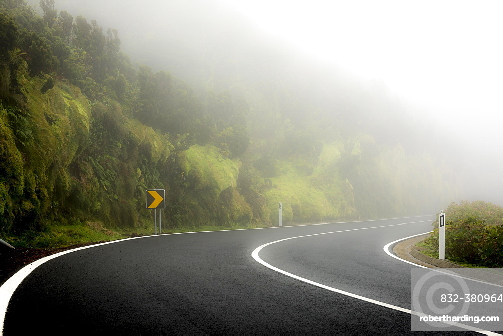 Curvy street in the fog with mossy mountain slope, Ponta Delgada, Flores Island, Azores, Portugal, Europe