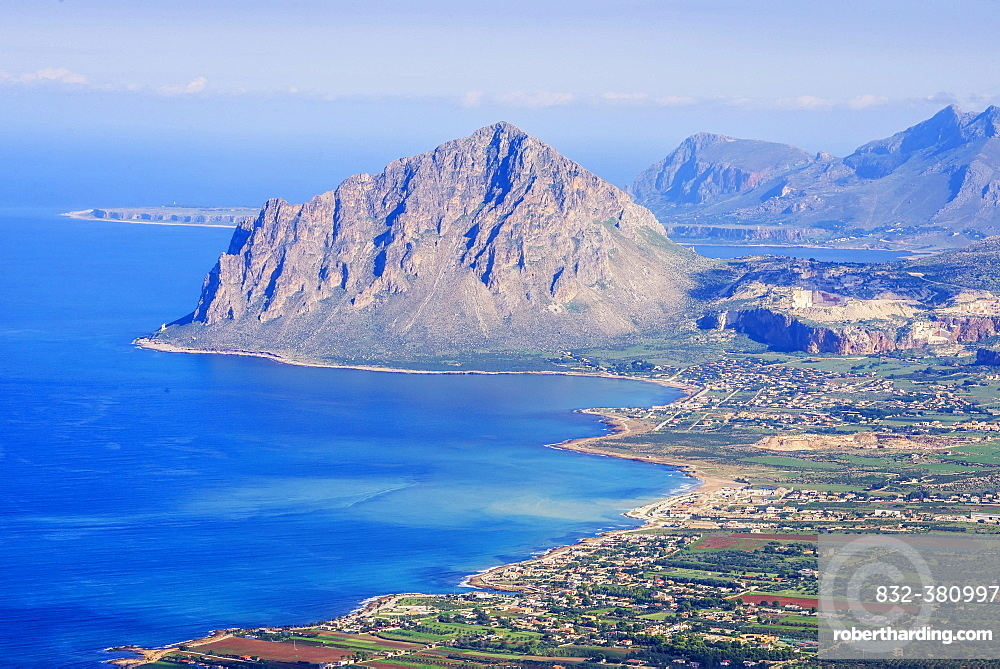 View to coast of Trapani and Monte Cofano, seen from Erice, Trapani province, Sicily, Italy, Europe