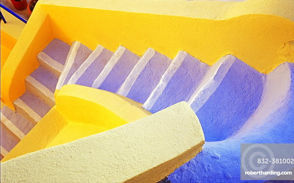 Colorful staircase, Oia, Santorini, Cyclades Islands, Greece, Europe