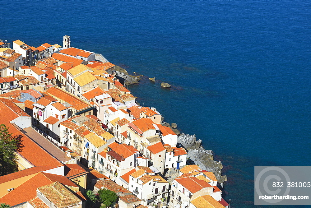 View from La Rocca, Cefalu, Sicily, Italy, Europe