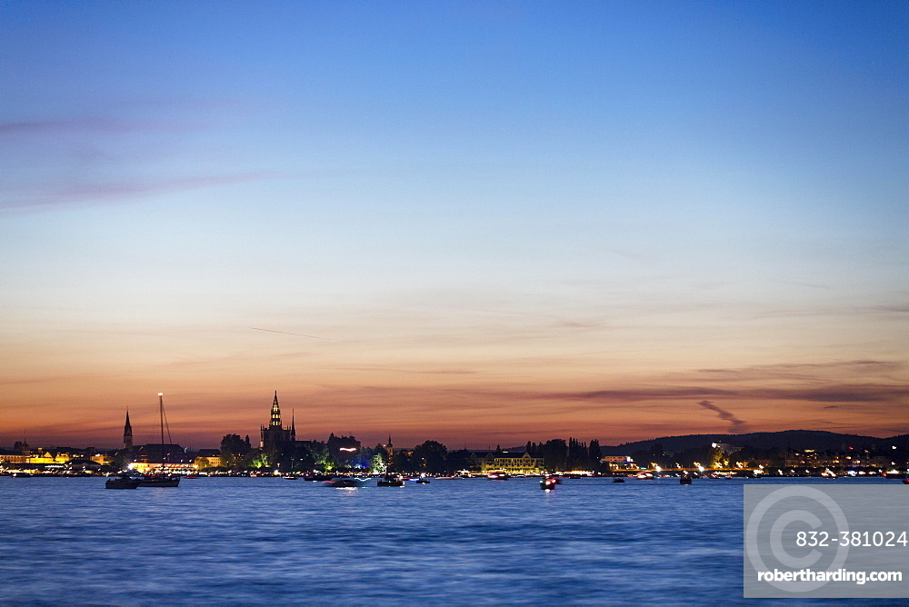 Evening atmosphere, view over Lake Constance on Constance with Münster, Thurgau, Switzerland, Europe
