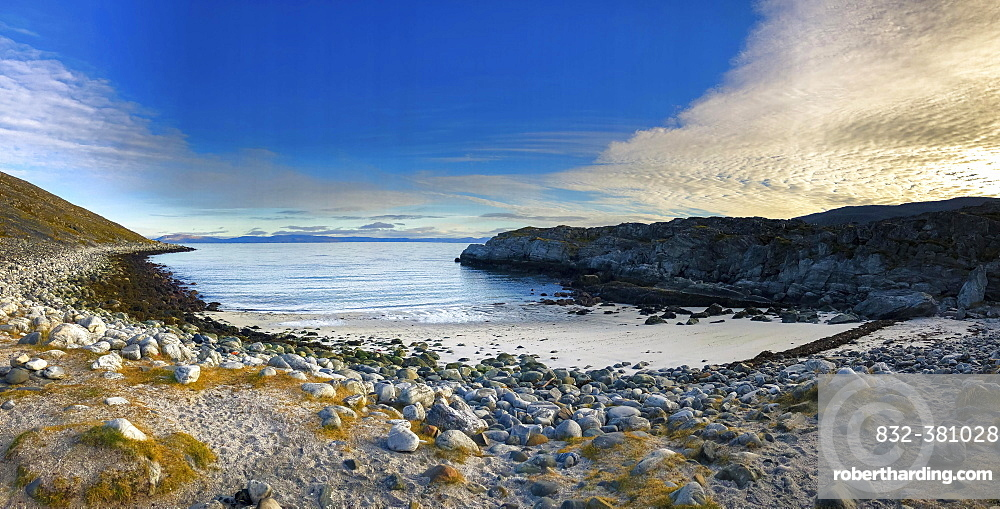 Panoramic view over the bay of Forsol, Finnmark, Norway, Europe