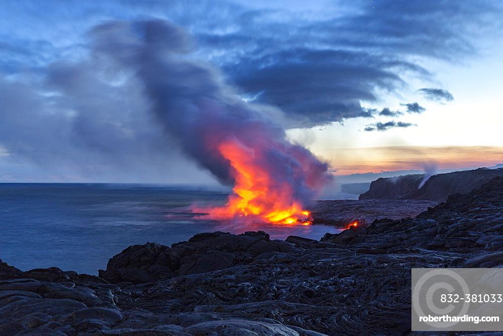 Lava entering ocean, Kalapana, Hawai'i Volcanoes National Park, Big Island, Hawai'i, USA, North America