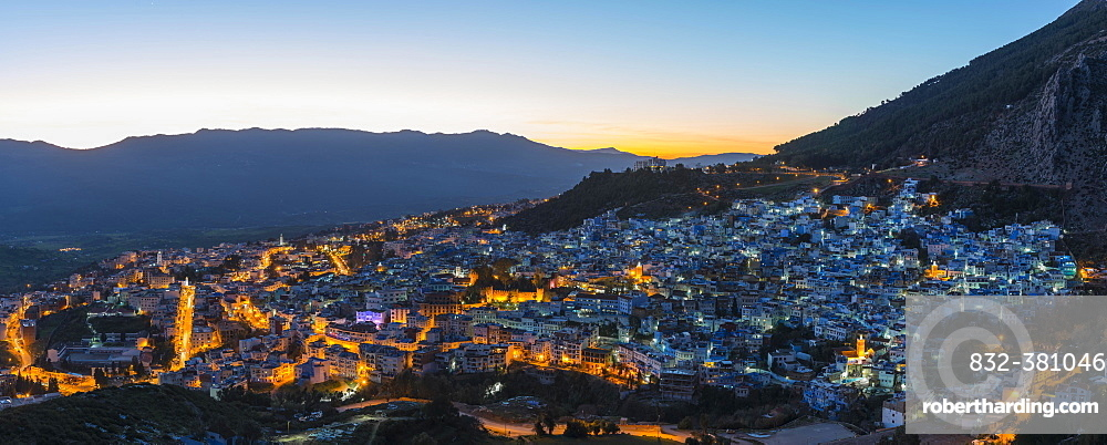 Evening shot, view of the illuminated medina of Chefchaouen, Chaouen, Tangier-Tétouan, Morocco, Africa