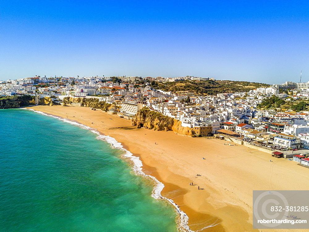 Aerial view of Fishermen Beach, Albufeira, Algarve, Portugal, Europe