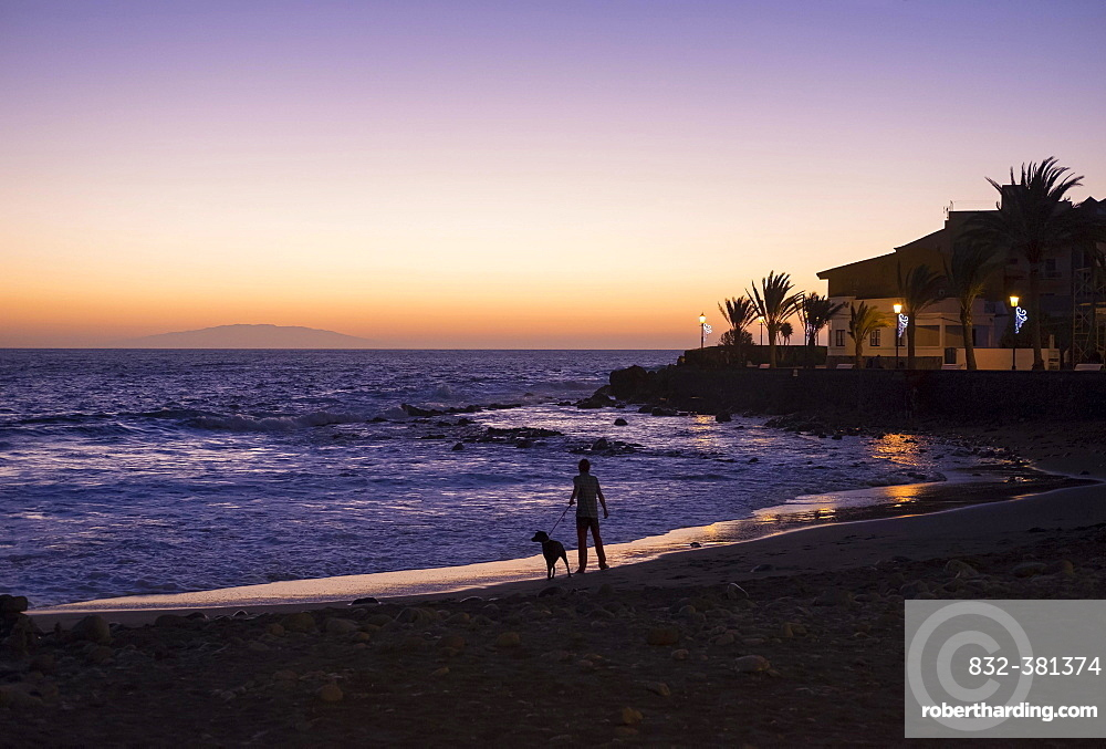 Evening mood, La Playa, Valle Gran Rey, La Gomera, Canary Islands, Spain, Europe