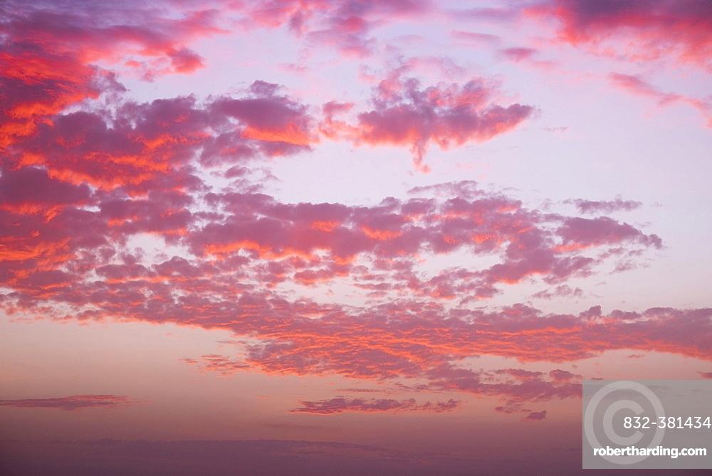 Cloudy sky at sunset, La Gomera, Canary Islands, Spain, Europe