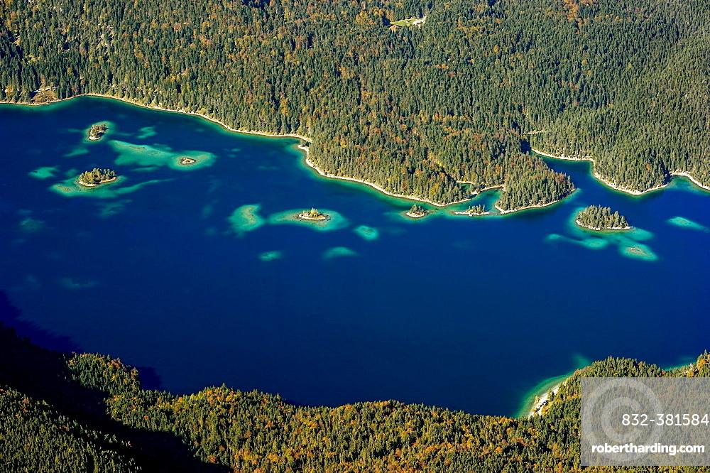 View of Eibsee Lake and Eibsee-Hotel from Zugspitze, Grainau, Werdenfelser Land, Upper Bavaria, Bavaria, Germany, Europe