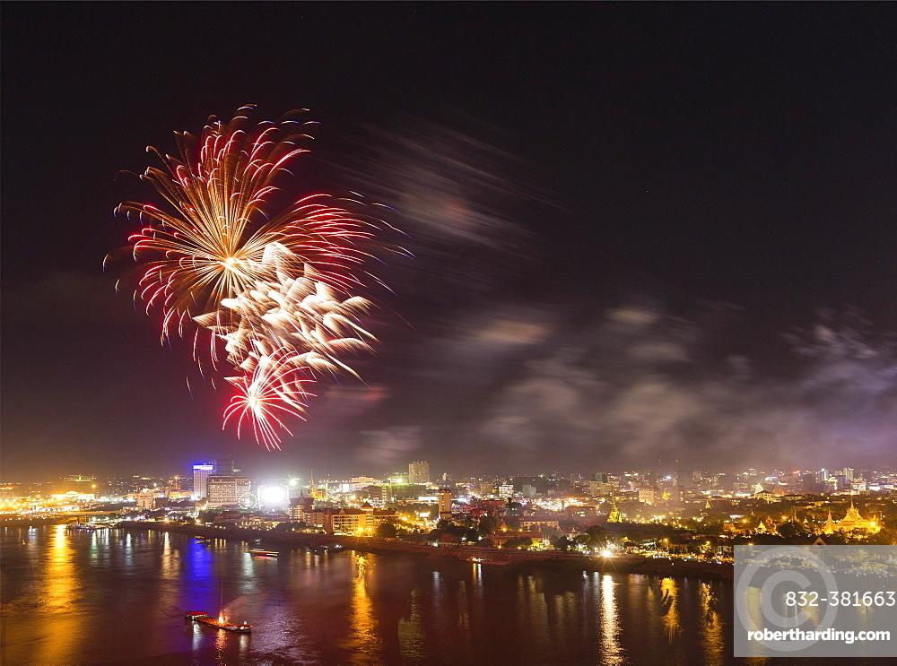 Fireworks over Tonlé Sap and Mekong, city view, Phnom Penh, Cambodia, Asia