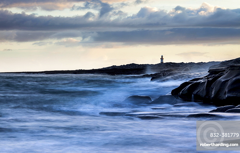 Lighthouse by the coast, high tide, Inis Oirr, Aran Islands, Ireland, Europe