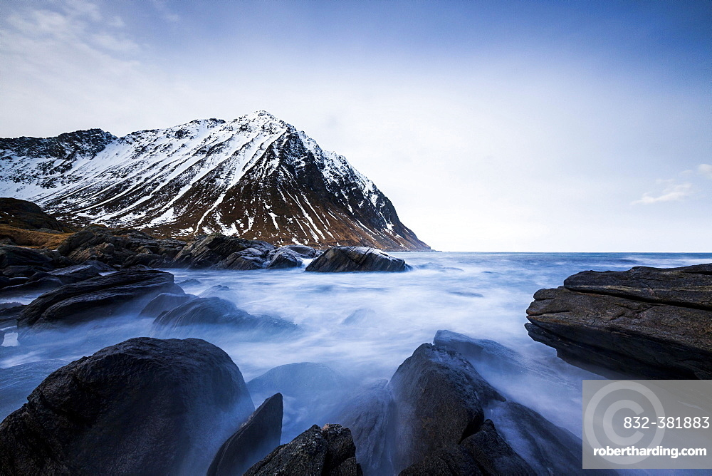 Surf on rocky coast near Myrland, Flakstadoya, Lofoten, Norway, Europe