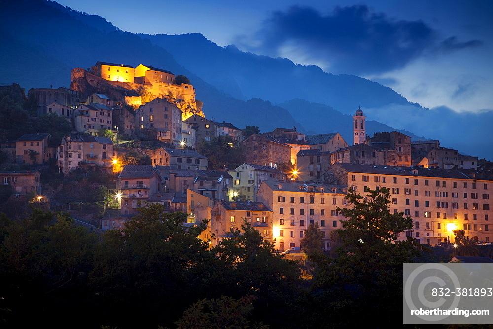 Historic centre, fortress, dusk, Corte, Haute-Corse, Corsica, France, Europe