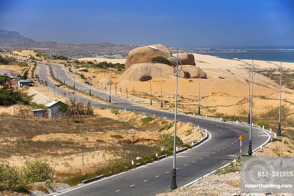 Lonely coastal road, Highway at Phan Rang, Ninh Thuan province, Vietnam, Asia