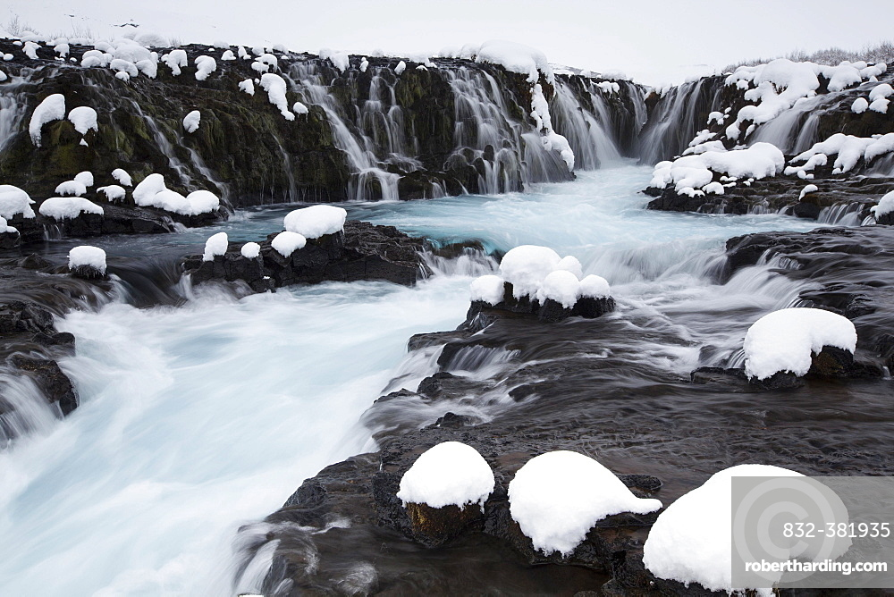 Bruarfoss in winter, river Bruara, Southern Region, Iceland, Europe
