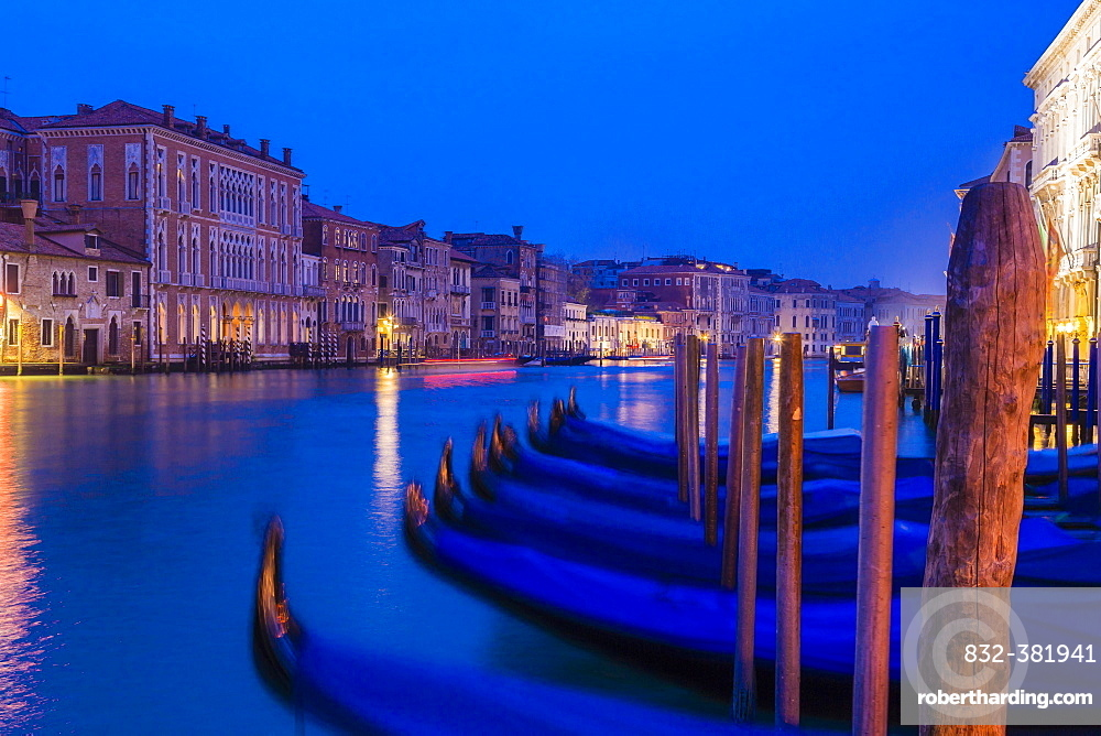 Grand Canal with gondolas at the blue hour, Venice, Italy, Europe