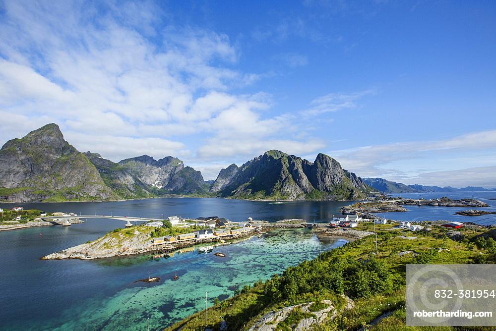 Panoramic view from Olenilsoya to Reinefjord, Moskenesøy, Lofoten, Norway, Europe