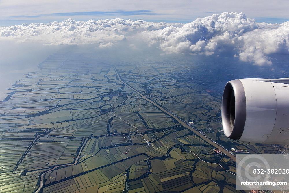 Aerial view, landing at Suvarnabhumi airport, rice paddies at Samuth Prakan, Samut Prakan, view from the aircraft, Bangkok, Thailand, Asia