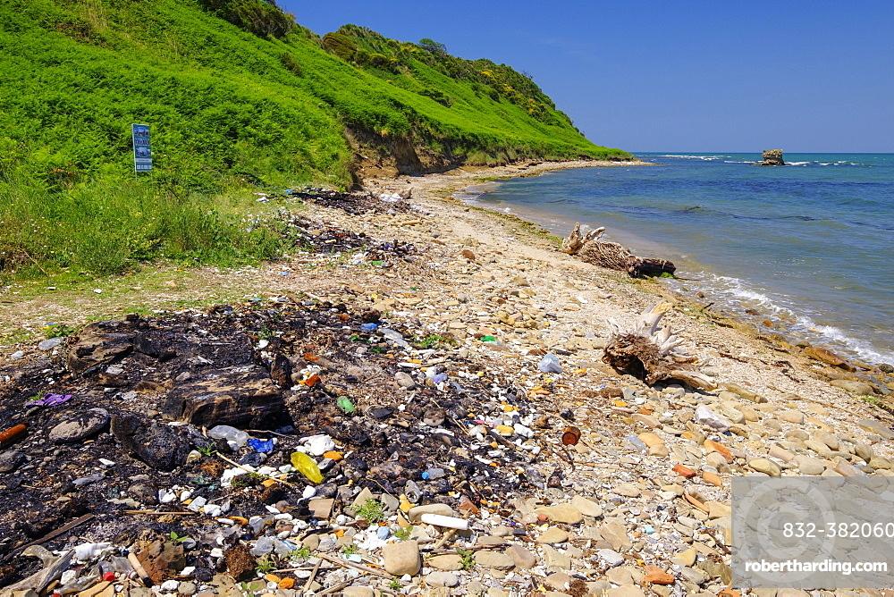 Garbage on the beach, Cape Rodon, Kepi i Rodonit, Adriatic Sea, municipality of Ishem, Durres, Durres, Albania, Europe