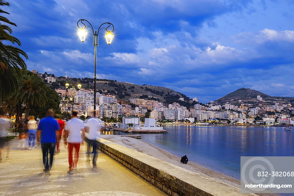 Dusk on the seafront, Saranda, Sarandë, Qark Vlora, Ionian Sea, Albania, Europe