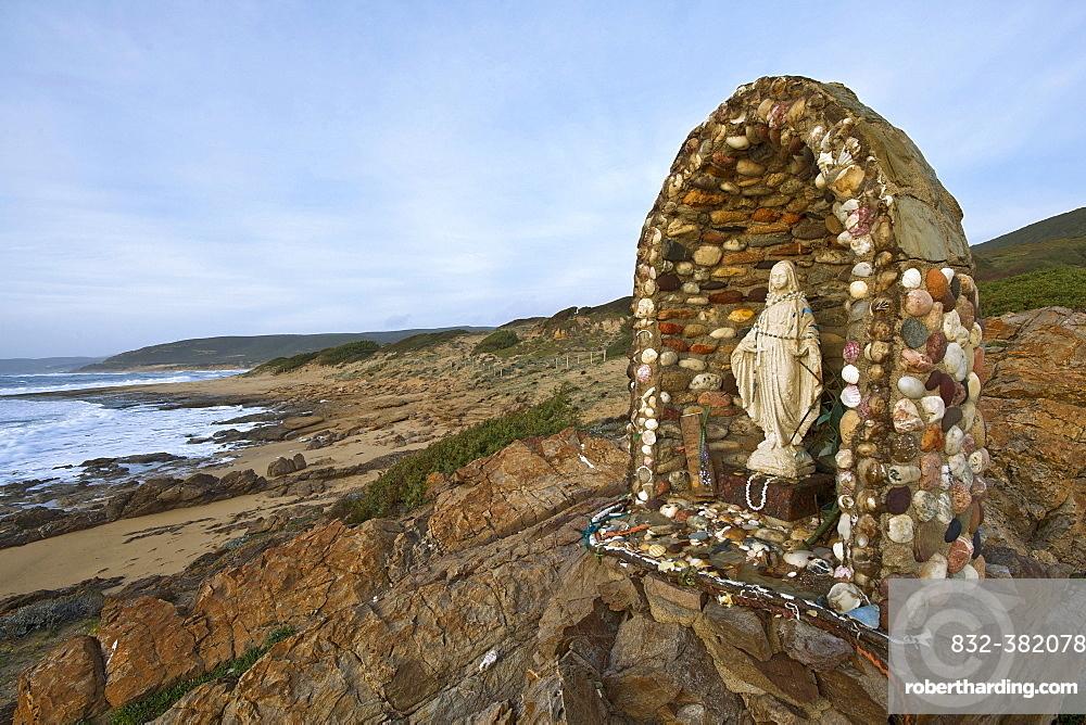 Memorial on the beach of Portu Maga, Costa Verde, Sardinia, Italy, Europe