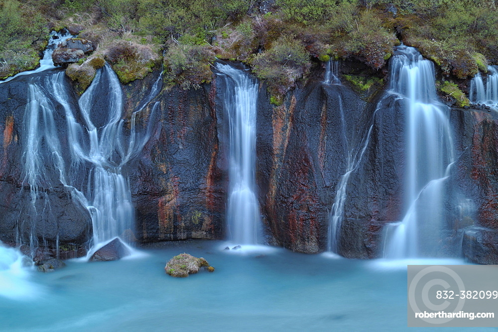 Hraunfossar Waterfall, River Hvita, Iceland, Europe