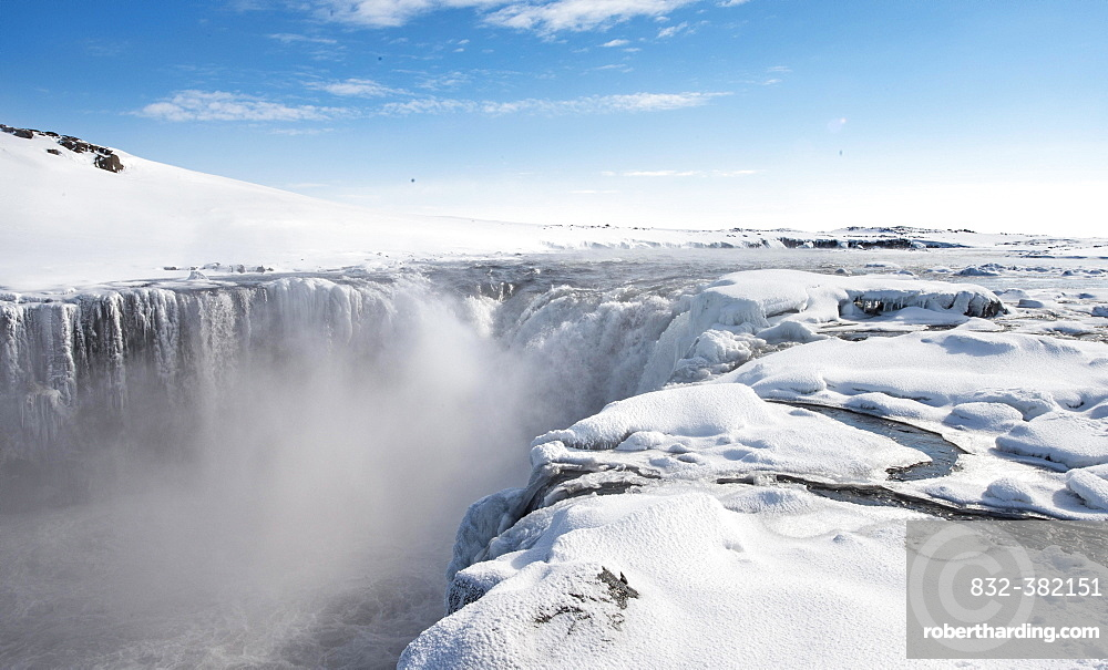 Hafragilsfoss Waterfall in winter, Northeastern Region, Iceland, Europe