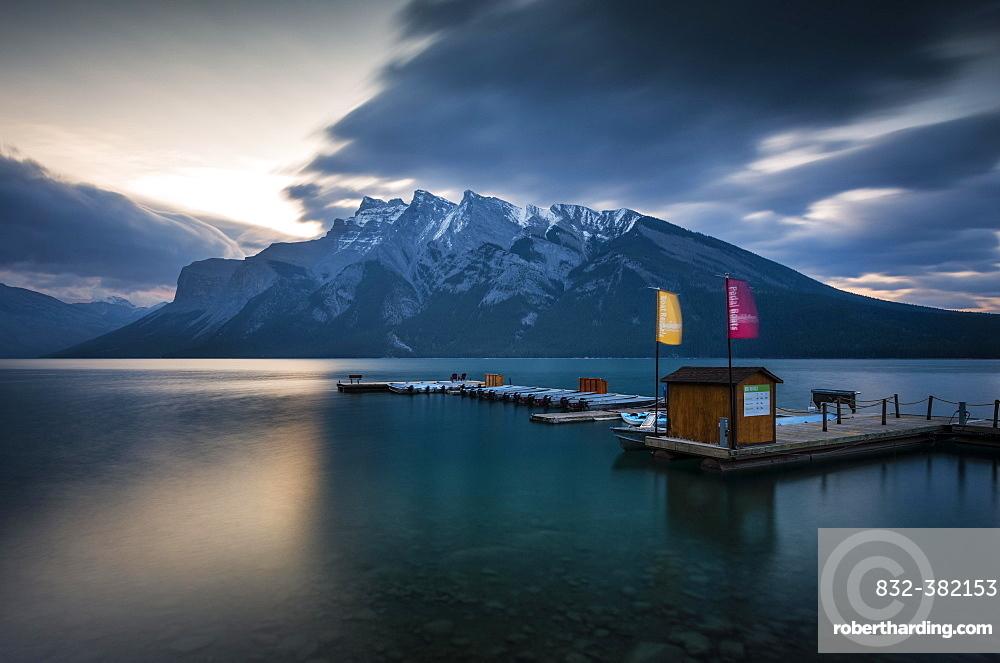 Boathouse on Lake Minnewanka, Sunrise, Mountains with Snow, Banff, Banff National Park, Rocky Mountains, Alberta, Canada, North America