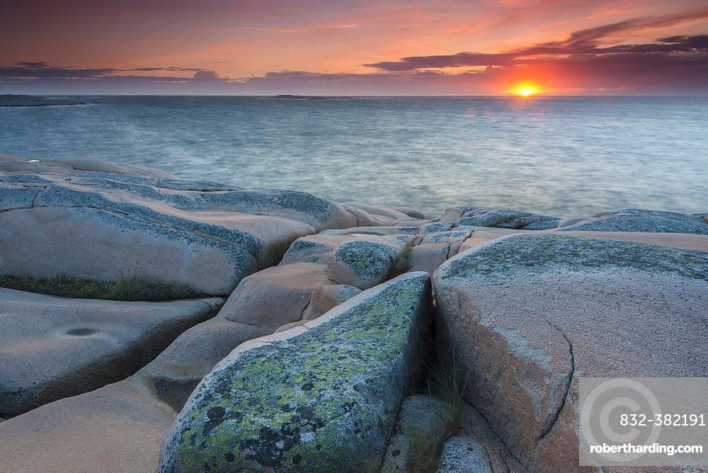 Rocks, sunset, evening atmosphere at the coastline near Smogen, Bohuslan province, Vastra Gotaland County, Sweden, Europe