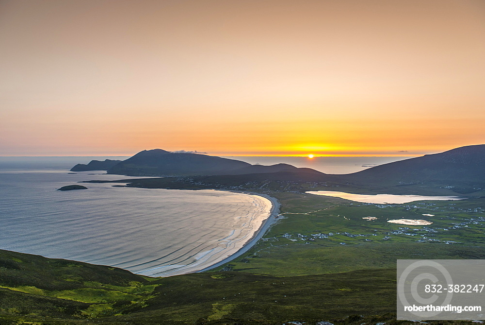 View of the Bay of Keel at sunset, Achill Island, County Mayo, Republic of Ireland