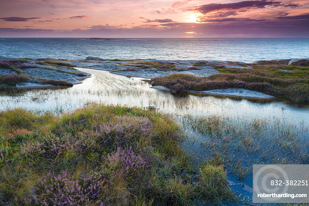 Sunset, evening atmosphere at the coastline near Smogen, Bohuslan province, Vastra Gotaland County, Sweden, Europe