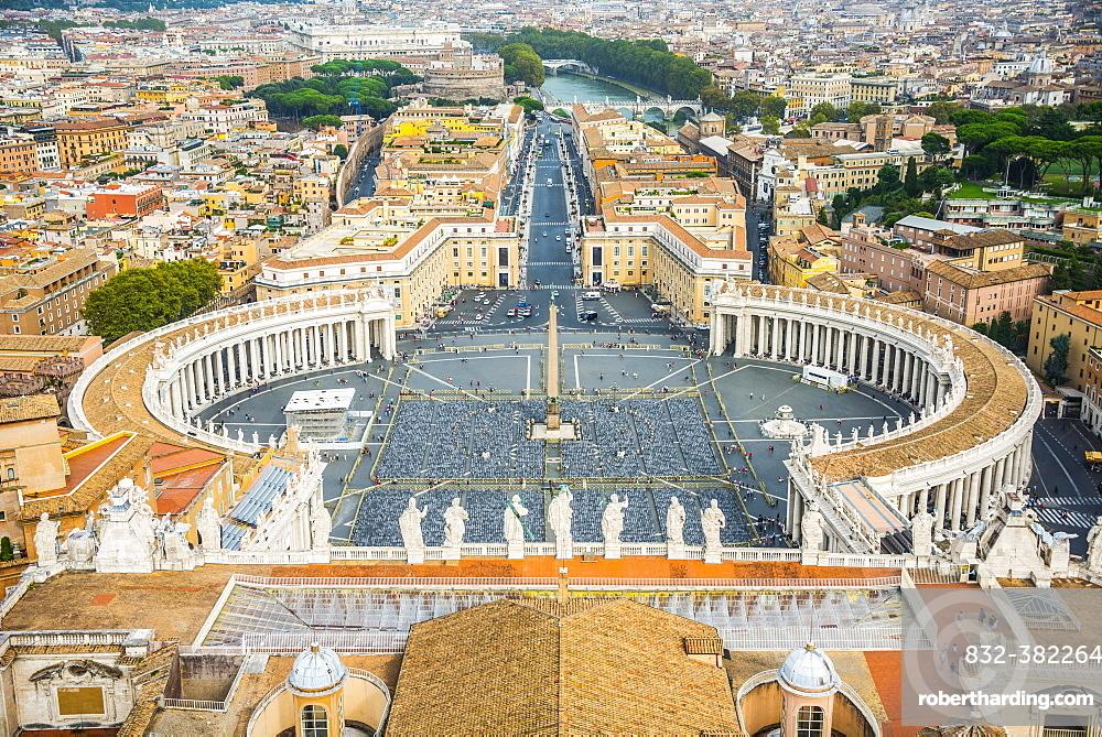 View from the dome of St. Peter's Basilica, San Pietro, across Piazza San Pietro, St. Peter's Square to Via della Conciliazione, Vatican, Rome, Lazio, Italy, Europe
