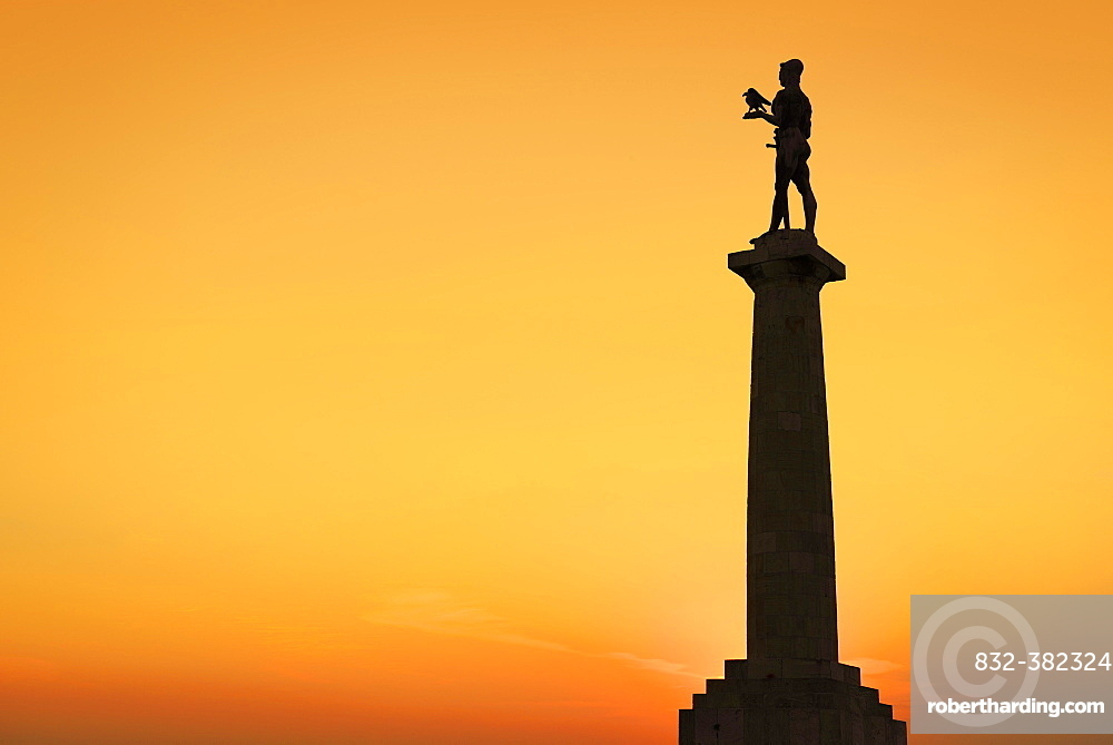 The Victor Monument, silhouette in afterglow, Pobednik, Kalemegdan, Belgrade, Serbia, Europe