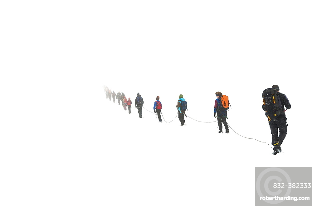 Roped party on glaciers Styggebreen, climb to Galdhøppigen, 2469 m, Oppland, Norway, Europe