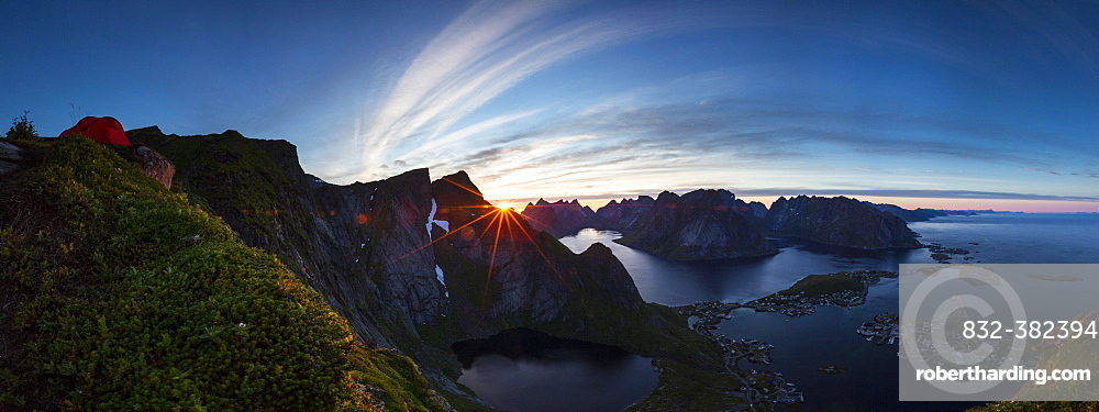 View from Reinebringen, Reinebriggen towards Reine and Reinefjord with mountains, midnight sun, Moskenes, Moskenesøy, Lofoten, Norway, Europe